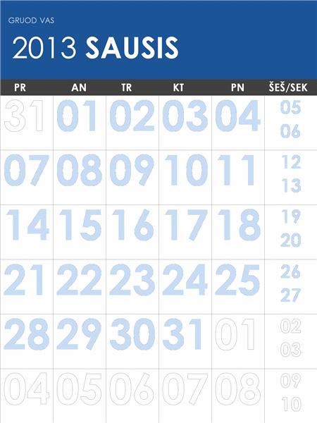 Įvairiaspalvis 2013–2014 m. kalendorius(P–S)