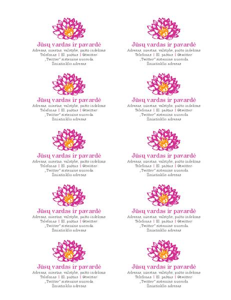 Asmeninės vizitinės kortelės su gėlės žiedu