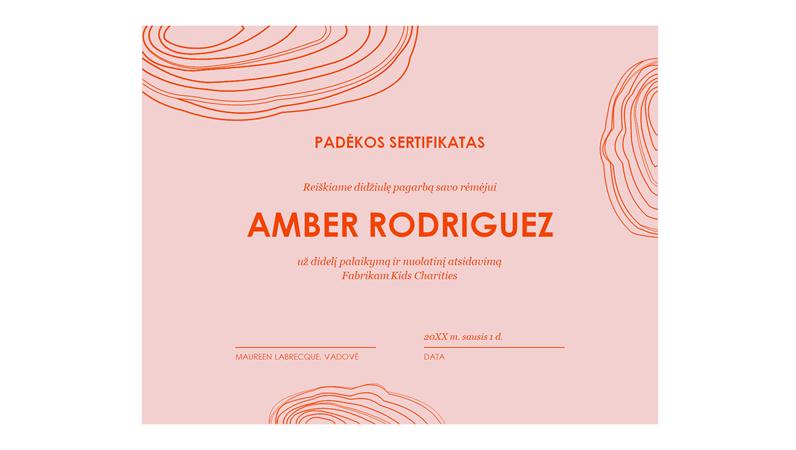 Padėkos sertifikatas rėmėjui