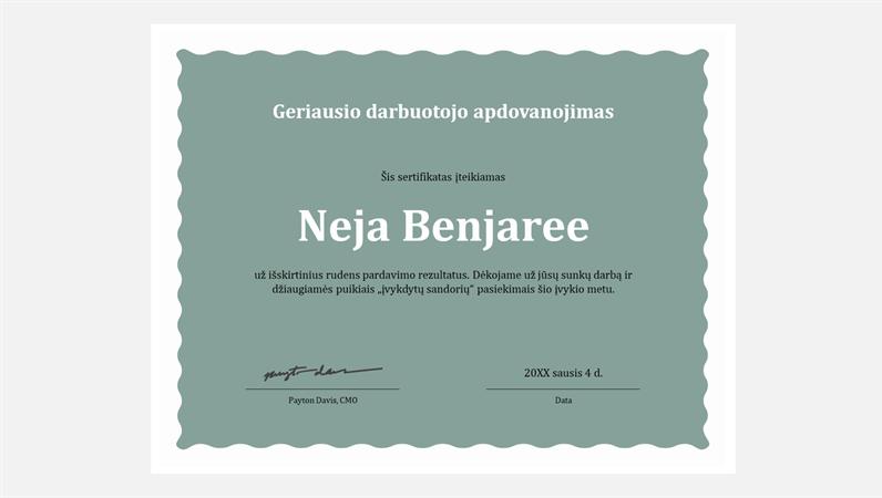 Darbuotojų pasižymėjimo sertifikatas