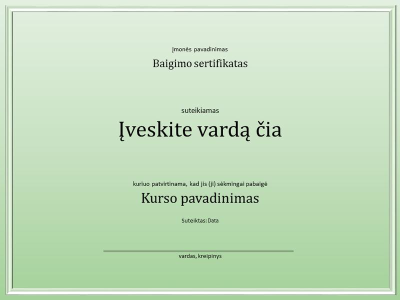 Kurso baigimo sertifikatas