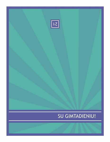 Gimtadienio atvirukas – mėlyni spinduliai žaliame fone