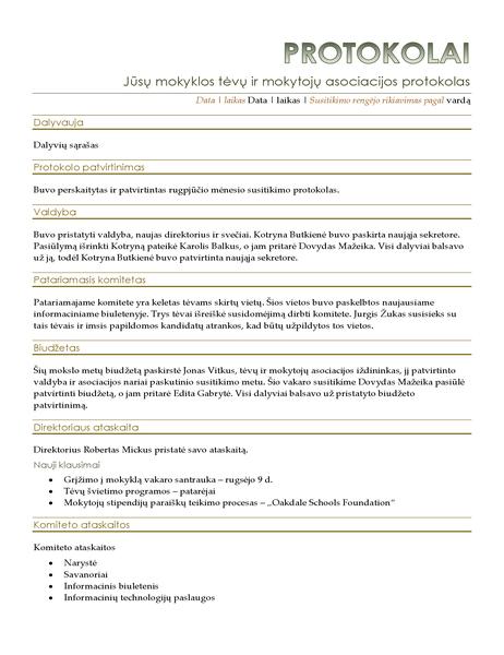 Tėvų ir mokytojų asociacijos susitikimo protokolas