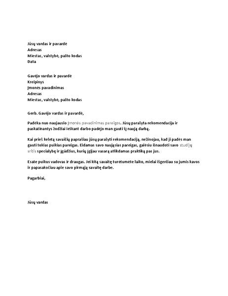 Padėkos laiškas buvusiam vadovui už sėkmingą darbo rekomendaciją