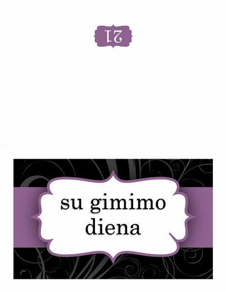 Gimtadienio atvirukas (violetinės juostelės dizainas)