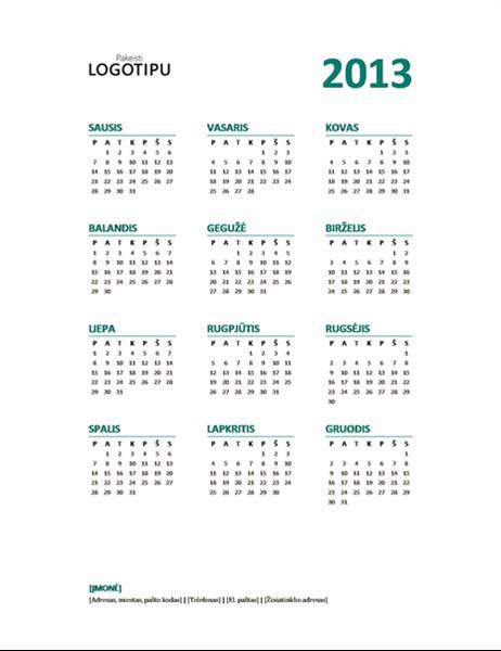 2013 metų kalendorius (P–S formato)