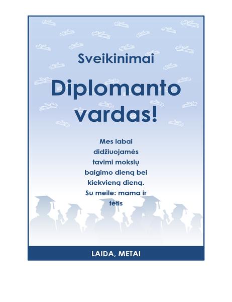 Diplomantų sveikinimo skrajutė (diplomantų vakarėlio dizainas)