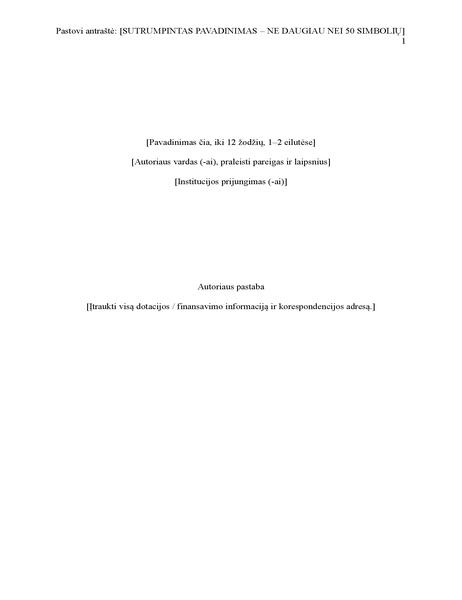 APA stiliaus ataskaita (6 leidimas)