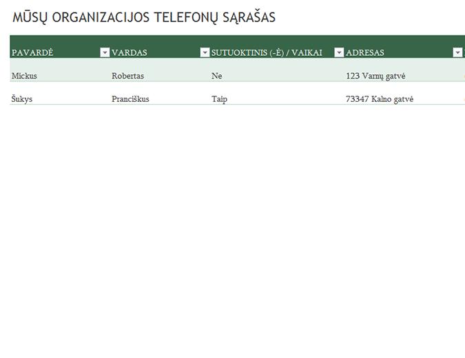 Darbuotojų telefonų sąrašas