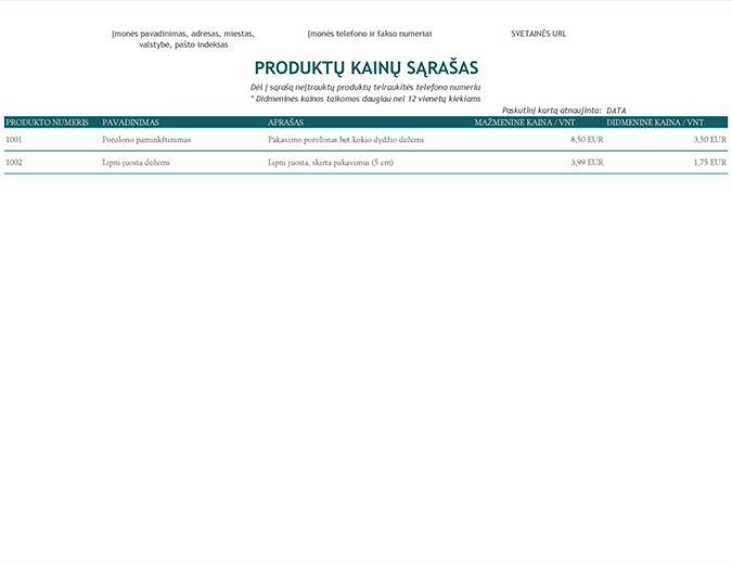 Produktų kainų sąrašas