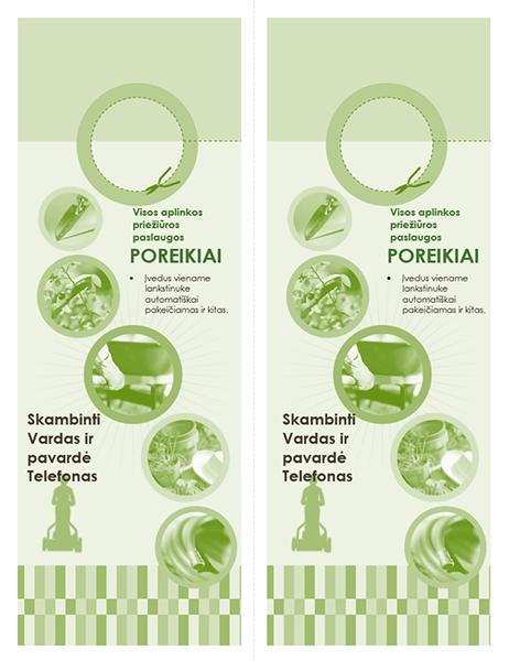 Ant rankenos kabinamas aplinkos tvarkymo įmonės lankstinukas (2 viename puslapyje)