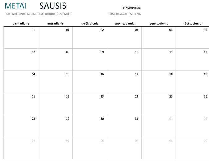 Bet kurių metų mėnesio kalendorius