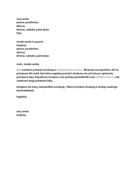 Laiškas, pranešantis klientui apie praleistą pristatymą
