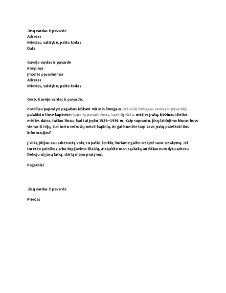 Laiškas, kuriame prašoma genealoginių įrašų iš laidotuvių biuro