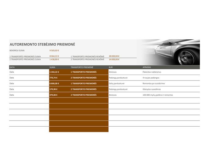 Automobilio remonto stebėjimo priemonė