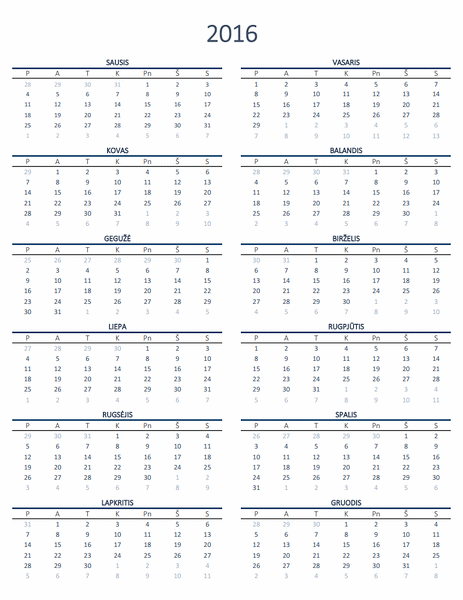 Bet kurių metų kalendorius