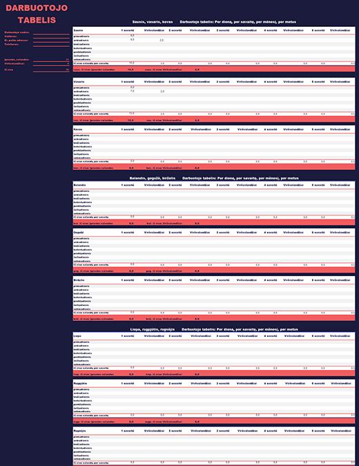 Darbuotojų grafikas (savaitės, mėnesio, metų)