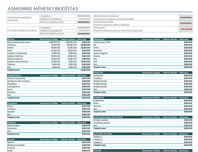 Asmeninis mėnesio biudžetas