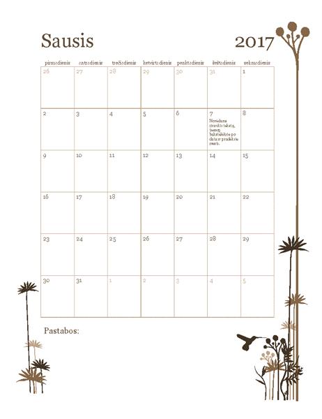 2017 m. nuotraukų kalendorius (pirmadienis–sekmadienis)