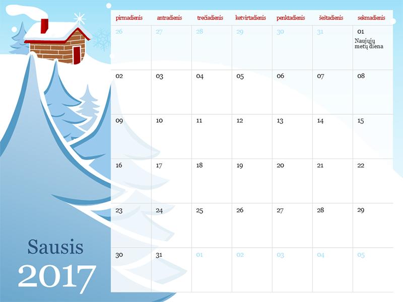 2017 m. iliustruotas sezoninis kalendorius (pirmadienis–sekmadienis)