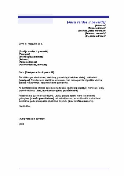 Titulinis lapas dokumentui laikinoms pareigoms užimti (mėlynos linijos tema)