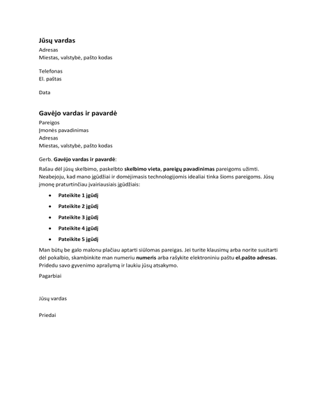 Motyvacinis laiškas skelbime nurodytoms pareigoms užimti