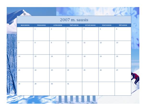 2007 m. kalendorius (12 p., metų laikų dizainas)