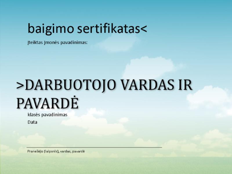 Kursų baigimo sertifikatas