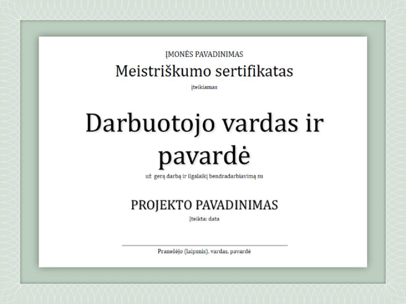 Darbuotojo įvertinimo sertifikatas