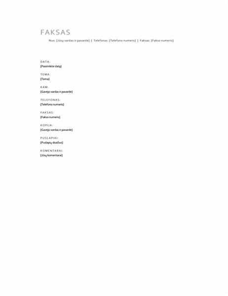 Asmeninės faksogramos titulinis puslapis
