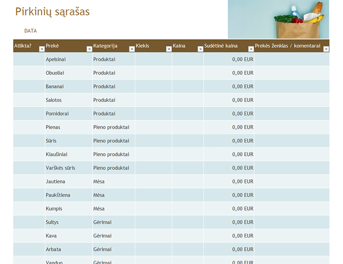 Bakalėjos prekių sąrašas