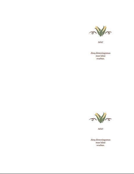 Padėkos atvirukas (derliaus dizainas)