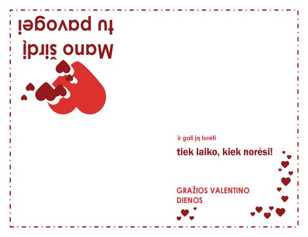 Valentino dienos atvirukas (širdelės dizainas, keturgubo sulenkimo)