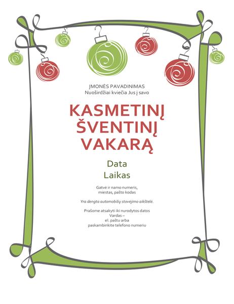 Kvietimas į vakarėlį (neoficialus, papuoštas raudonais ir žaliais ornamentais)