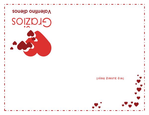 Šv. Valentino dienos atvirukas (viduje tuščias)