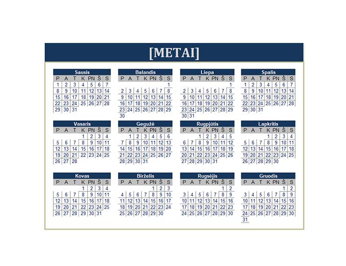 Kalendorius (bet kurių metų)