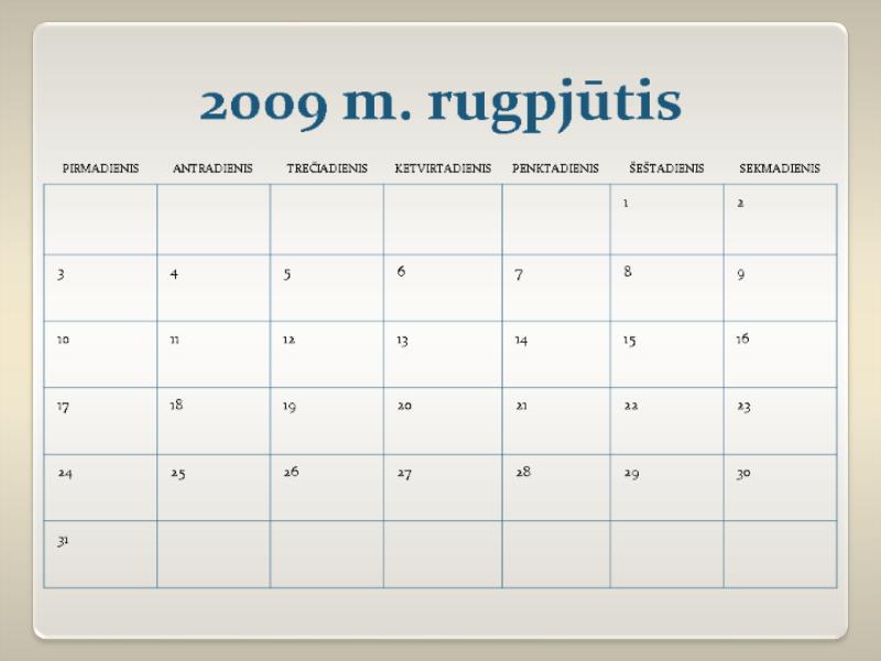 2009–2010 m. akademinis kalendorius (13 psl., pr–sk)