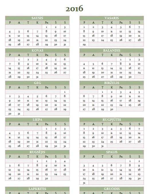 2016–2025 metų kalendorius (pirmadienis–sekmadienis)