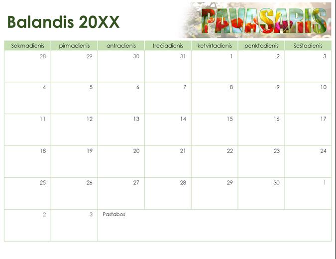 Sezoninių nuotraukų kalendorius