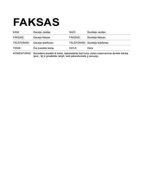 Faksogramos viršelis (standartinis formatas)