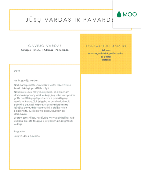 Aiškus ir minimalistinis motyvacinis laiškas, sukurtas MOO