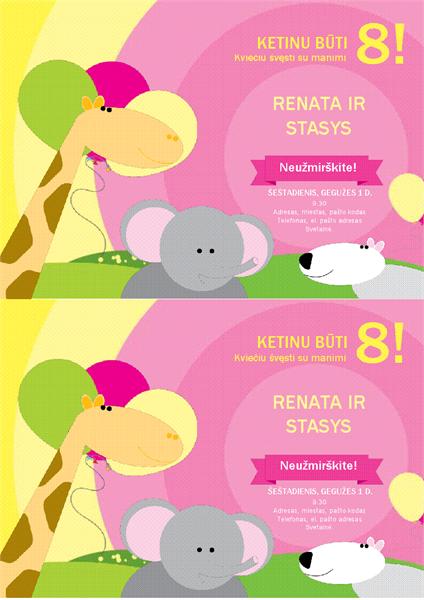 Kvietimas į gimtadienį (vaikiškas dizainas, 2 viename puslapyje)