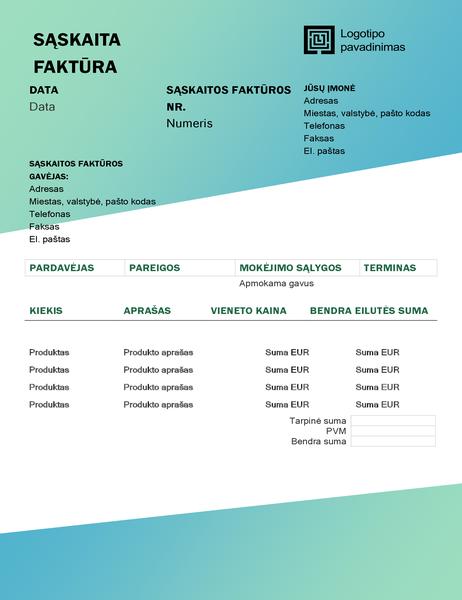 """Paslaugų sąskaita faktūra (dizainas """"Žalias gradientas"""")"""