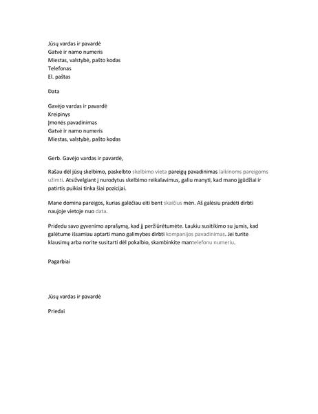 Motyvacinis laiškas laikinoms pareigoms