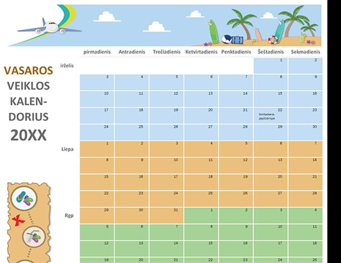Vasaros veiklos kalendorius