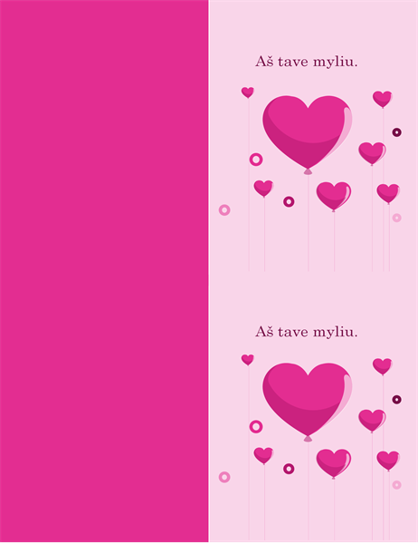 Valentino dienos atvirukas Širdžių formos balionėliai