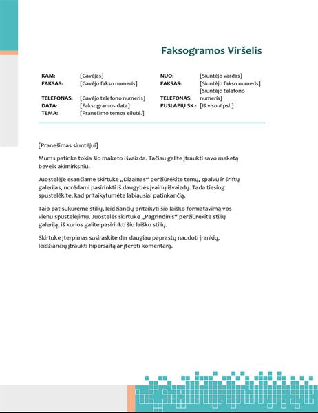 Minimalistinio technologijų dizaino faksogramos viršelis