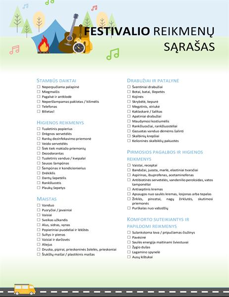 Festivalio kontrolinis sąrašas