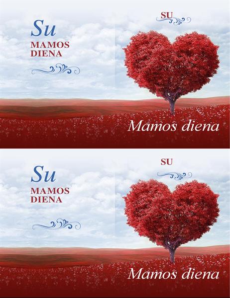 Motinos dienai skirtas atvirukas Širdžių medis
