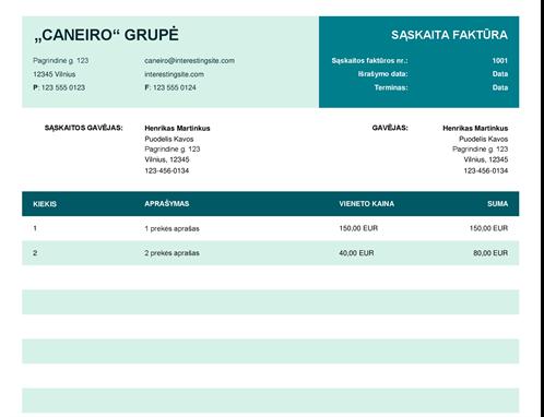 Bazinė sąskaita faktūra su vieneto kaina
